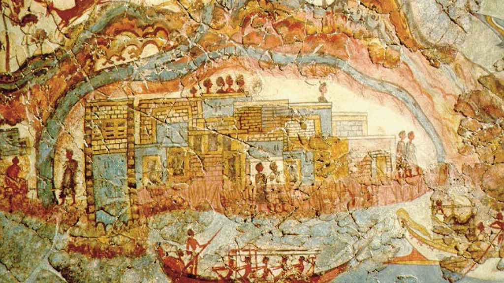 Fresco minoico de Akrotiri, en la isla de Santorini, la Pompeya de la Edad del Bronce.
