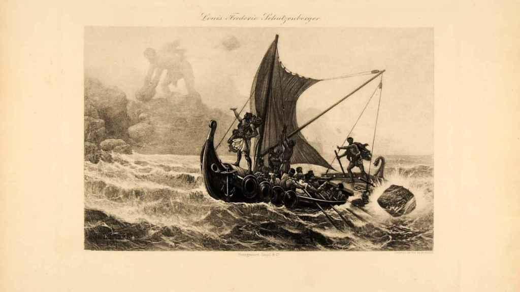 El cíclope Polifemo lanza una piedra contra el barco de Aquiles. Grabado de Louis-Frédéric Schtzenberger¨.