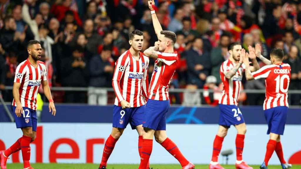 Saúl celebra el único gol de la victoria