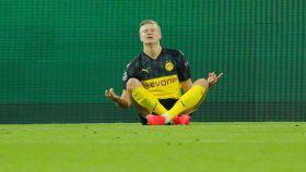 Haaland celebra su gol ante el PSG en la Champions