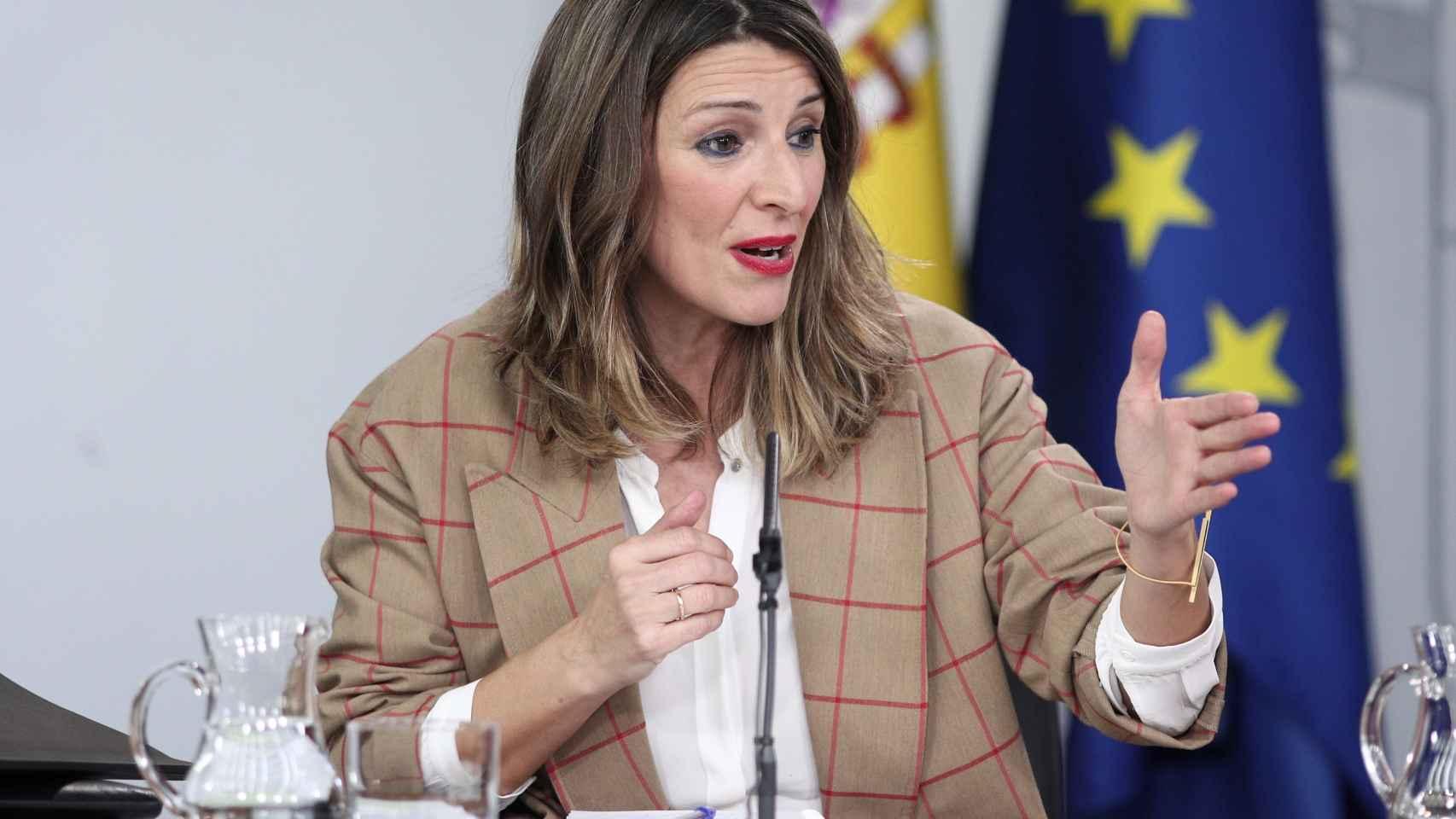 La ministra de Trabajo y Economía Social, Yolanda Díaz, comparece en rueda de prensa tras el Consejo de Ministros en Moncloa.