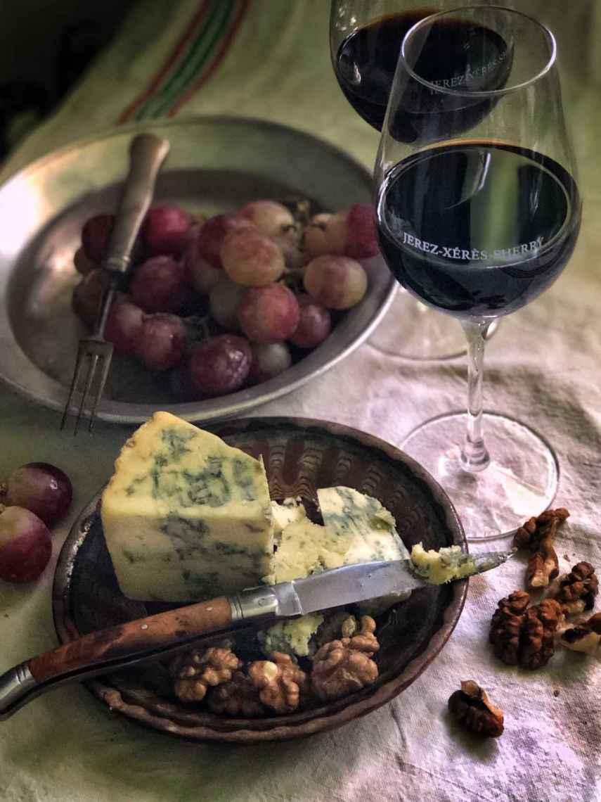 El queso azul, mejor con Jerez.