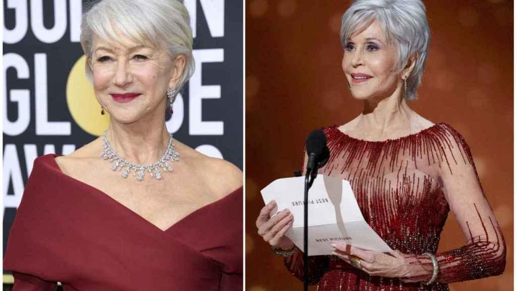Las actrices Helen Mirren y Jane Fonda en las pasadas ediciones de los Globos de Oro y Oscars, respectivamente.