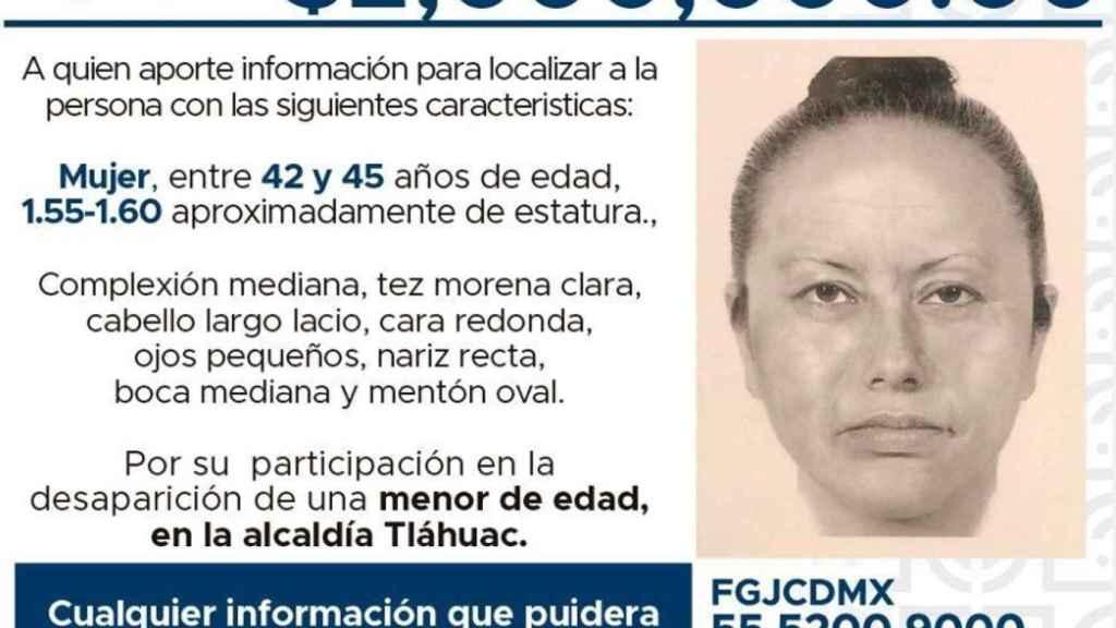 Retrato robot de la mujer que sustrajo y asesinó a la pequeña Fátima.