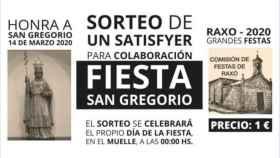El cartel de la fiesta de San Gregorio en el pueblo de Raxó, en Pontevedra.