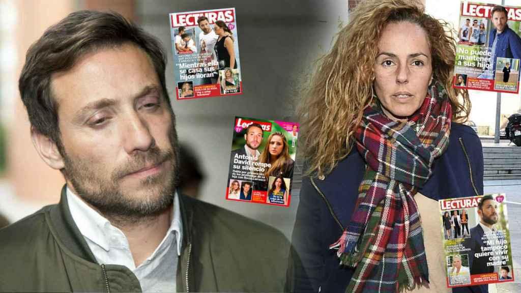 Antonio David y Rocío Carrasco en un montaje junto a las portadas que ha protagonizado él.