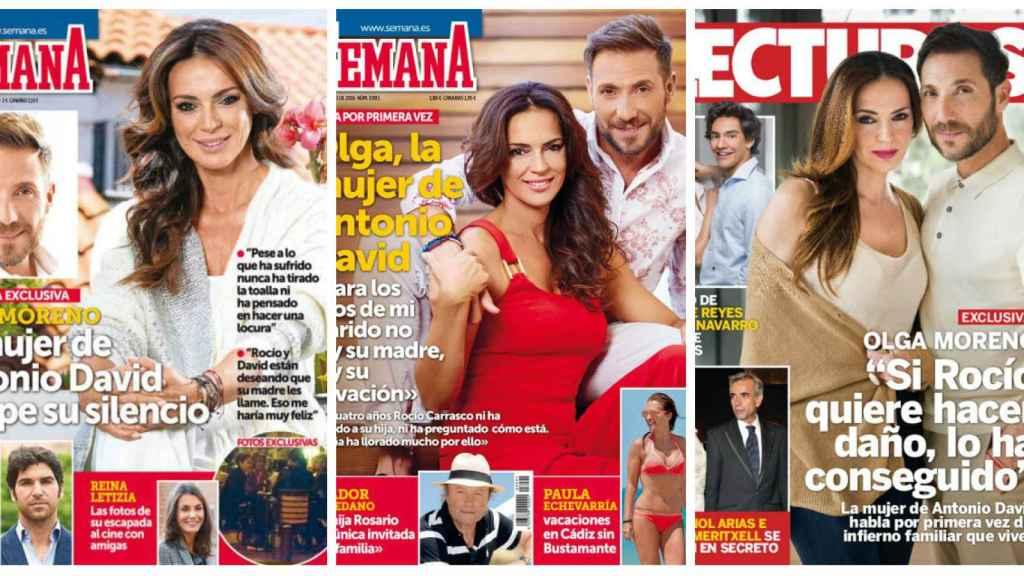 Olga Moreno, sola y con marido posando en las revistas.