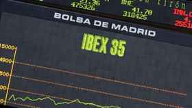 Panel de cotización del Ibex 35 en la Bolsa de Madrid.