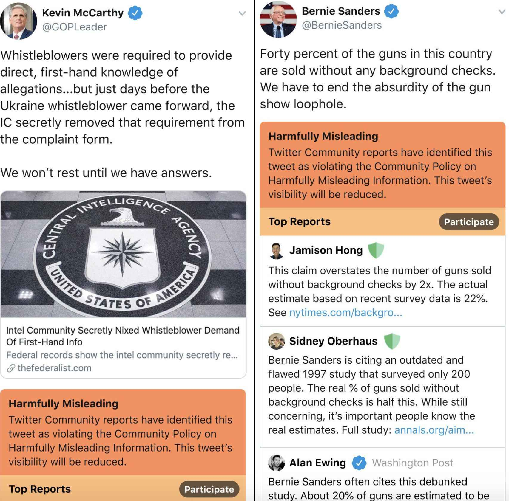 Ejemplos de tuits marcados como engañosos; a la izquierda, el representante del partido republicano