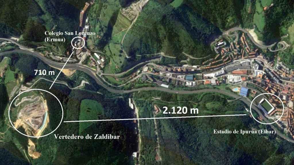 Mapa de los lugares cercanos al vertedero.