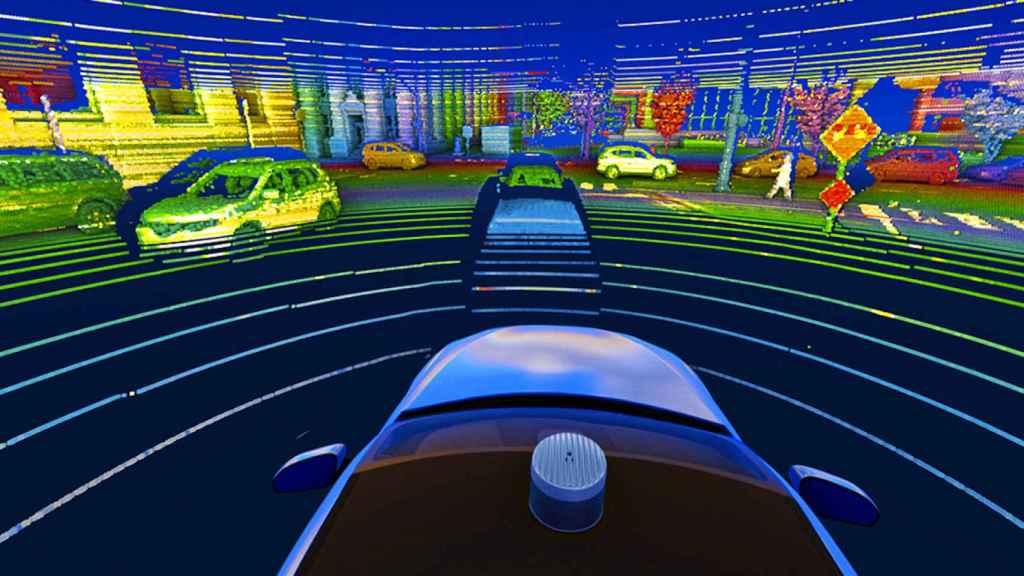 La tecnologia Alpha Prime de sensores para coches auto?nomos de Velodyne Lidar, en Silicon Valley.