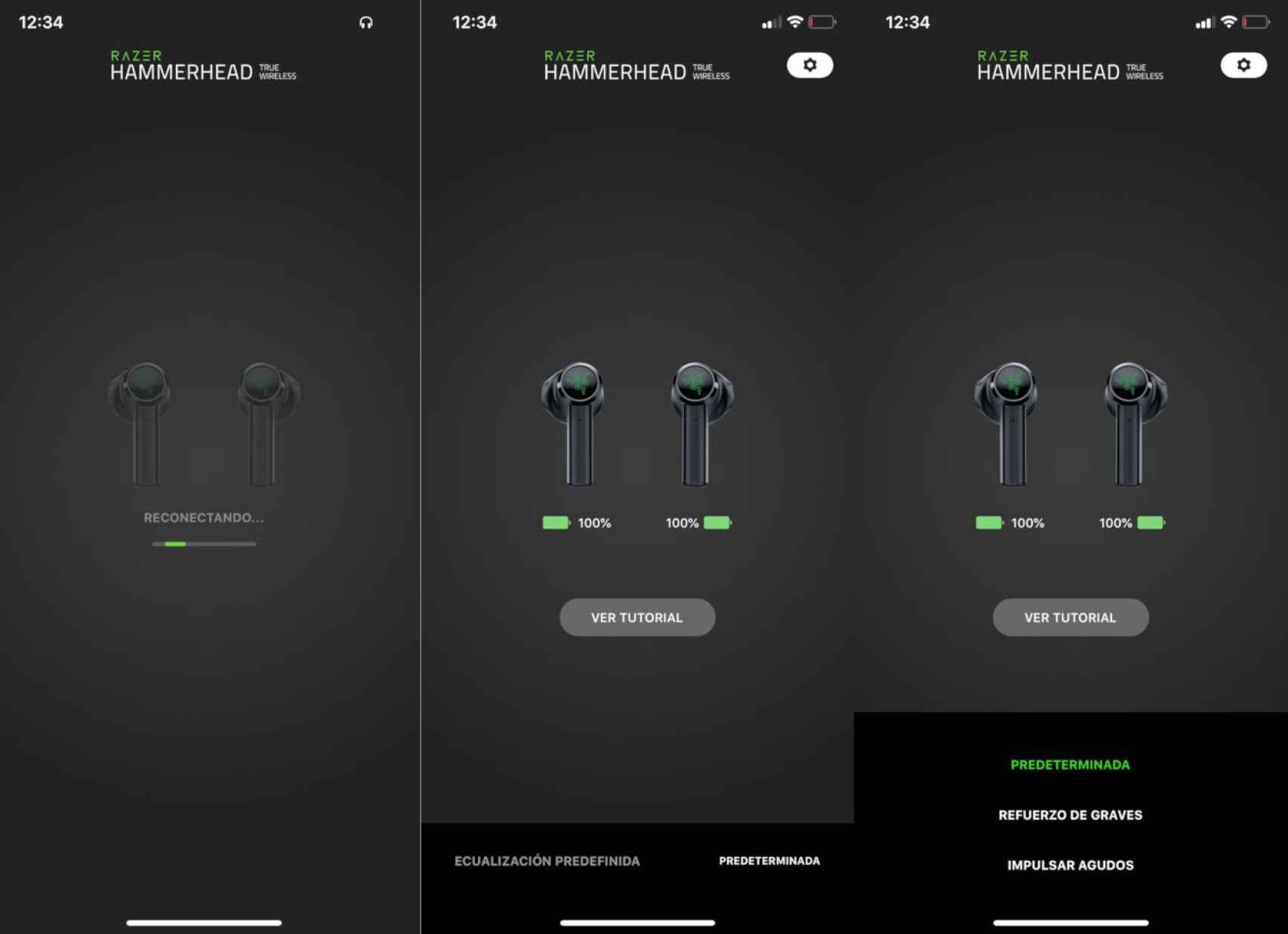 App para iOS de los Razer Hammerhead True Wireless