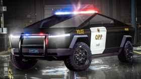 Un Tesla Cybertruck modificado como un coche de policía