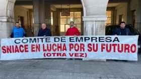 Huelga de trabajadores de Sniace, en una imagen de archivo.