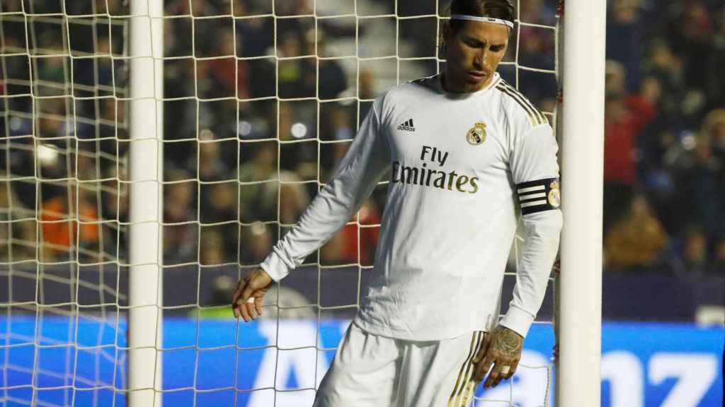 Sergio Ramos, tras una ocasión de gol ante el Levante