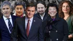 Algunos de los ministros del gobierno de coalición de Pedro Sánchez.