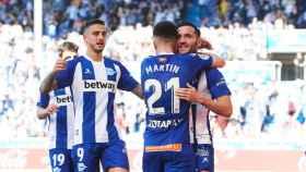 El Alavés celebra un gol ante el Athletic