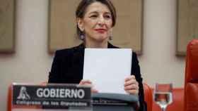 Yolanda Díaz, ministra de Trabajo durante su última comparecencia en el Congreso.