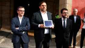 Jové, a la izquierda, junto a Junqueras y Aragonès en 2017.