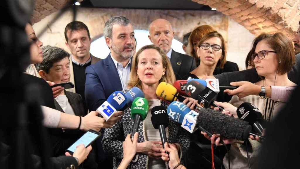 La vicepresidenta tercera Nadia Calviño este lunes en Barcelona.