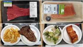Arriba, el filete de ternera y el lomo de salmón, sin hacer. Abajo, hechos junto a su guarnición.