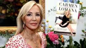 Carmen Lomana junto a la portada de su nuevo libro 'Cuestión de actitud'.