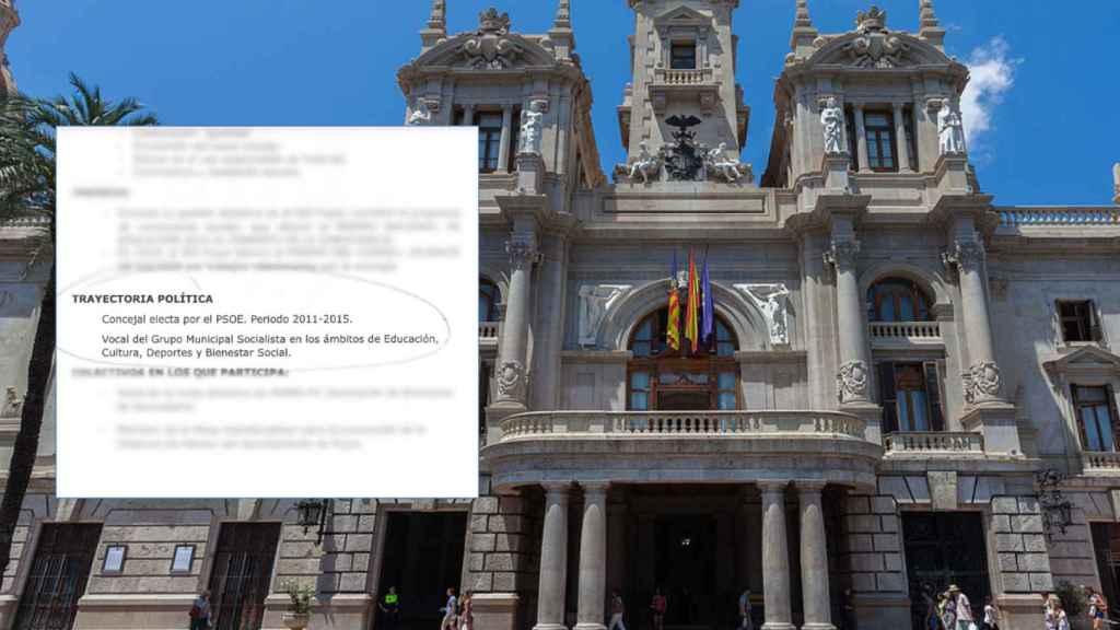 Fotomontaje del ayuntamiento de Valencia y el CV de la candidata.