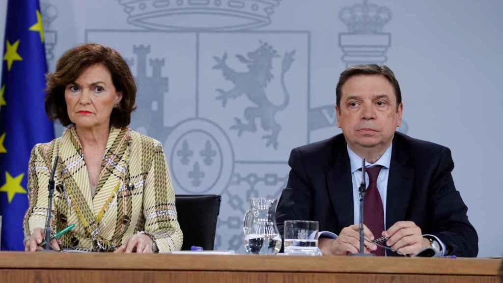 La vicepresidenta primera del Gobierno, Carmen Calvo, y el ministro de Agricultura, Pesca y Alimentación, Luis Planas, este martes.