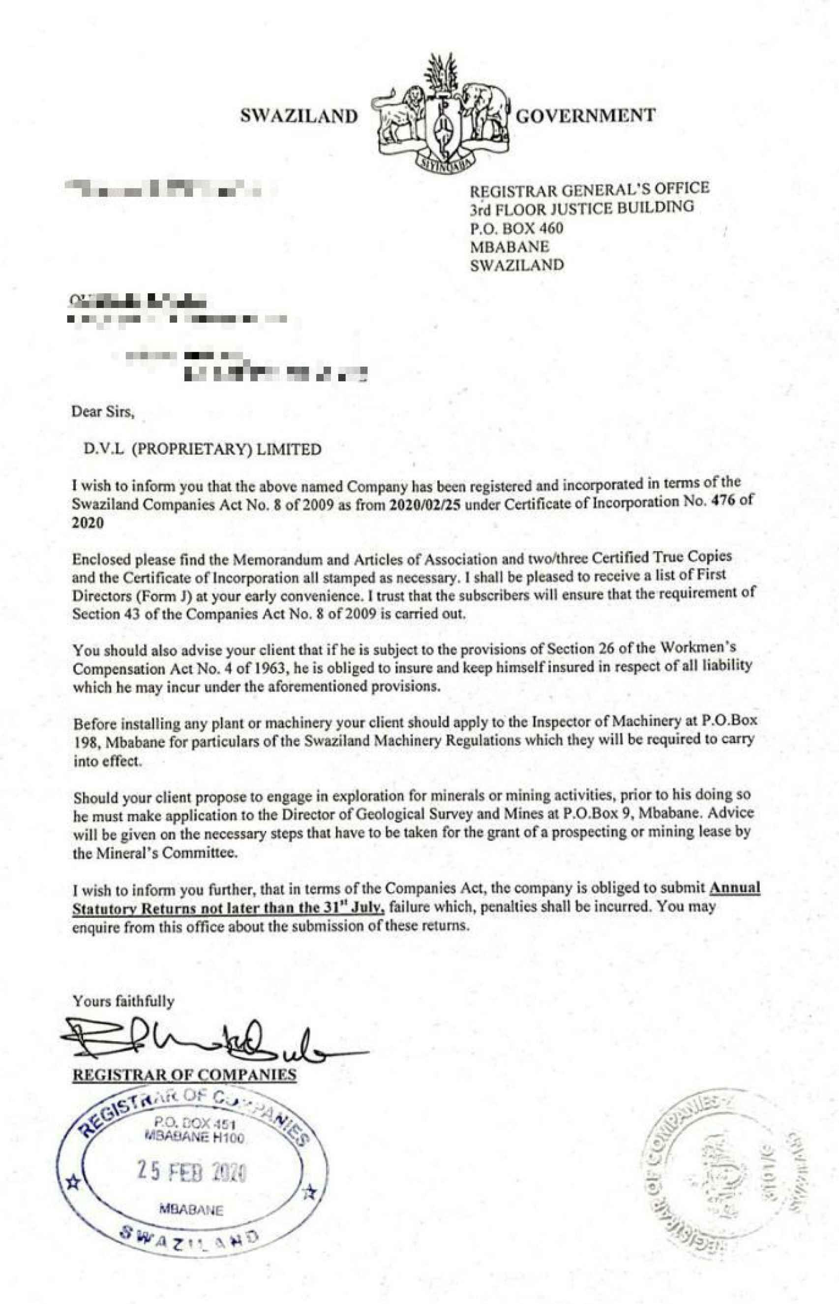 El acuerdo sobre la explotación de la mina que Manuel ha firmado con el Gobierno de Suazilandia.