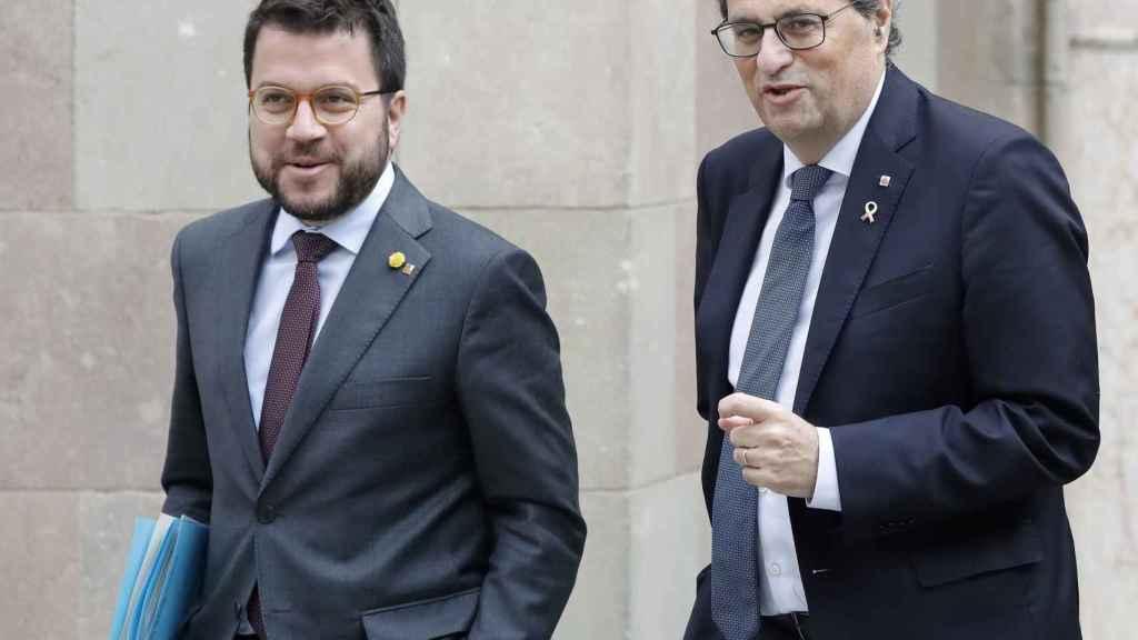 Quim Torra y Pere Aragonès horas antes de viajar a Madrid para acudir a la mesa de diálogo.