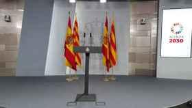 Sala principal de prensa en el Palacio de la Moncloa.