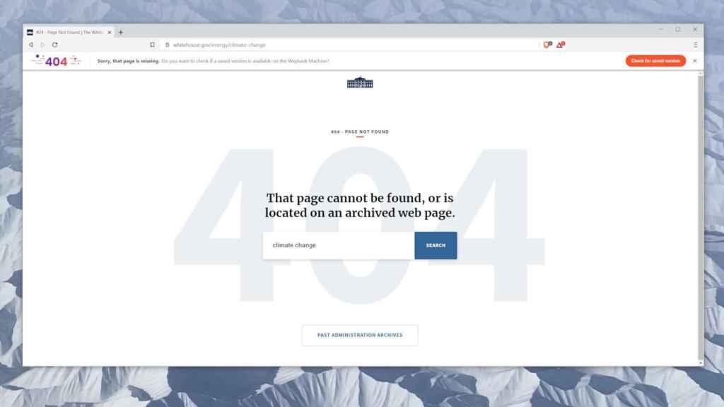 La página de la Casa Blanca dedicada al cambio climático no existe