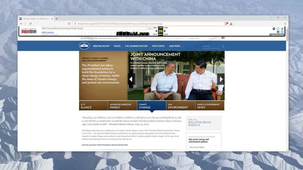 La página dedicada al cambio climático, cuando estaba accesible