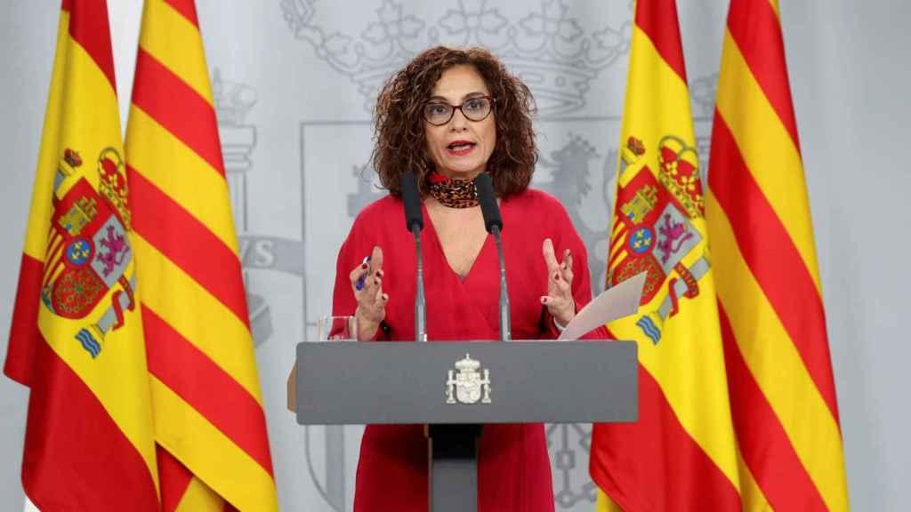 María Jesús Montero, durante una rueda de prensa en Moncloa.