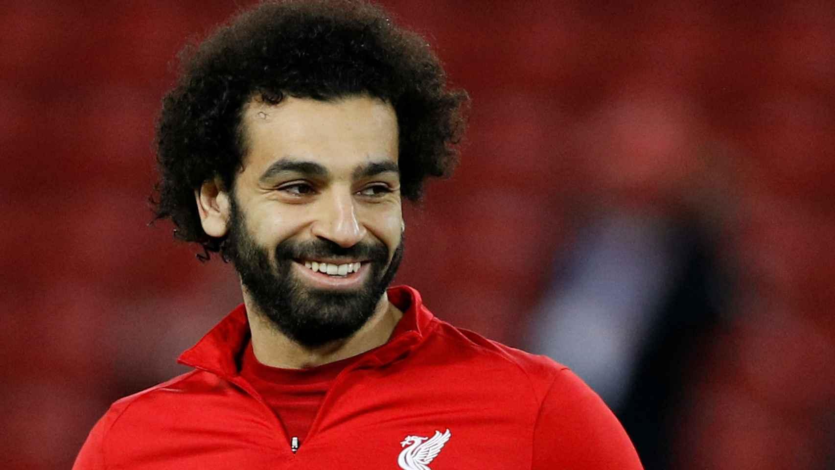 Mohamed Salah, antes de un partido con el Liverpool