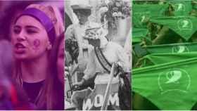 El morado, el blanco y le verde, tres colores feministas.