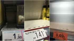 Existencias de gel desinfectantes agotadas en Carrefour, Dia y Mercadona.