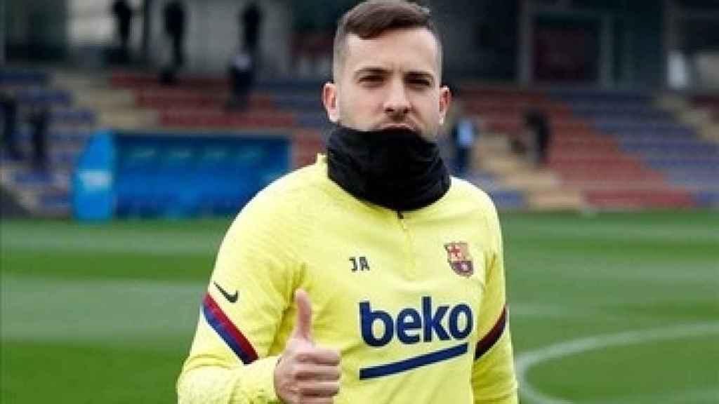 Jordi Alba, durante un entrenamiento del Barcelona