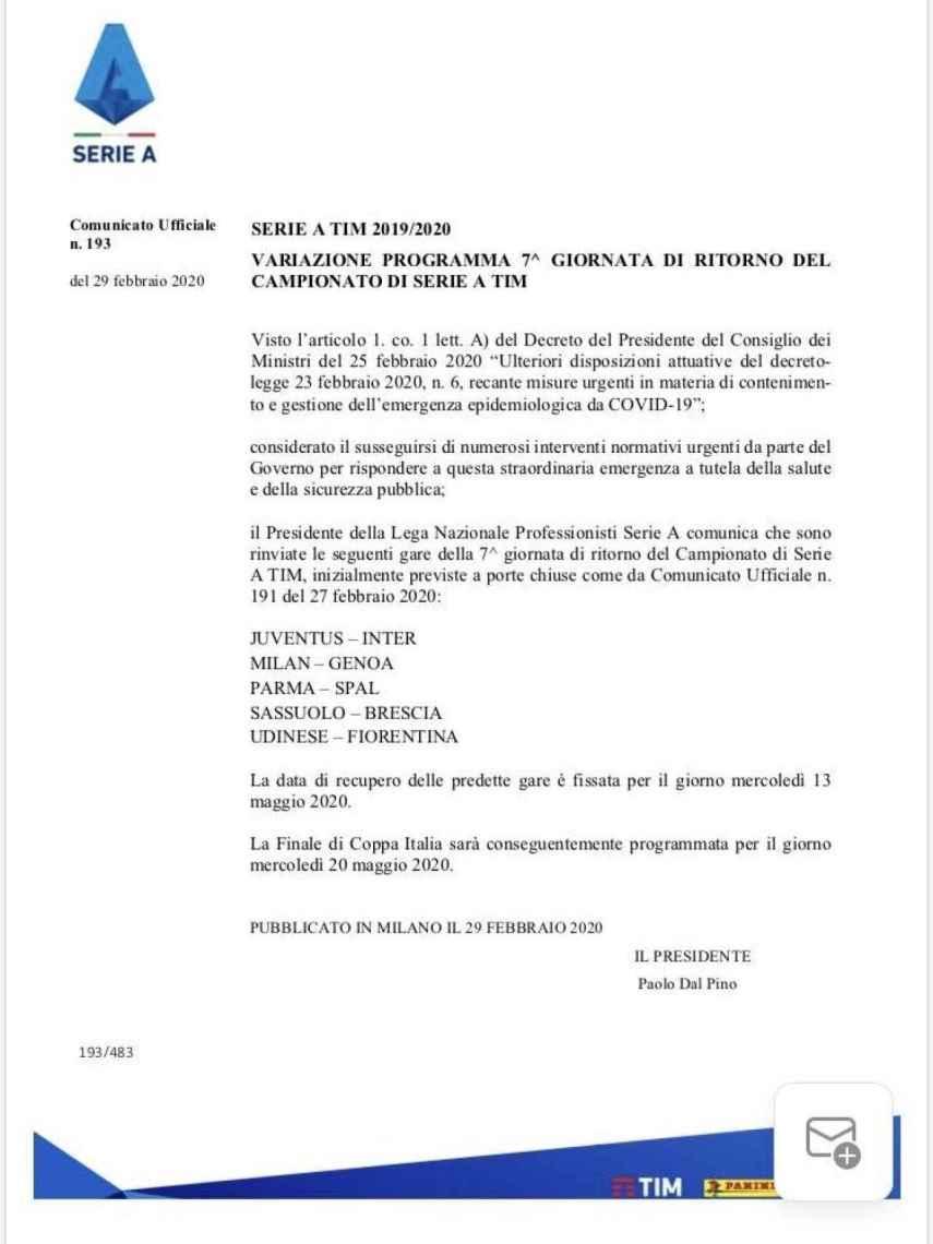 El comunicado de la Serie A anunciando el aplazamiento de los partidos