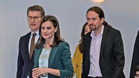 La Reina Leticia y el vicepresidente Pablo Iglesias, en el primer acto oficial que compartieron.