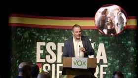 Ortega Smith durante su intervención en Zaragoza y el momento en el que irrumpe la activista.
