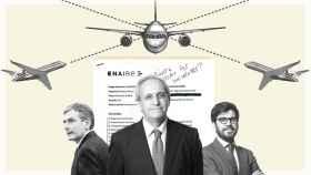 De izquierda a derecha: Pedro Saura, secretario de Estado de Transporte; Ángel Luis Arias, director general del Aire; y Raúl Medina, director general de Aviación Civil.