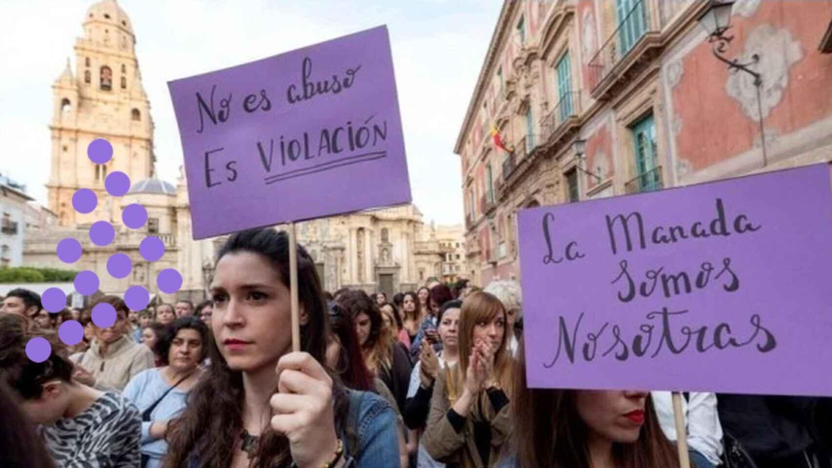 Una manifestación feminista a favor de los cambios del código penal.