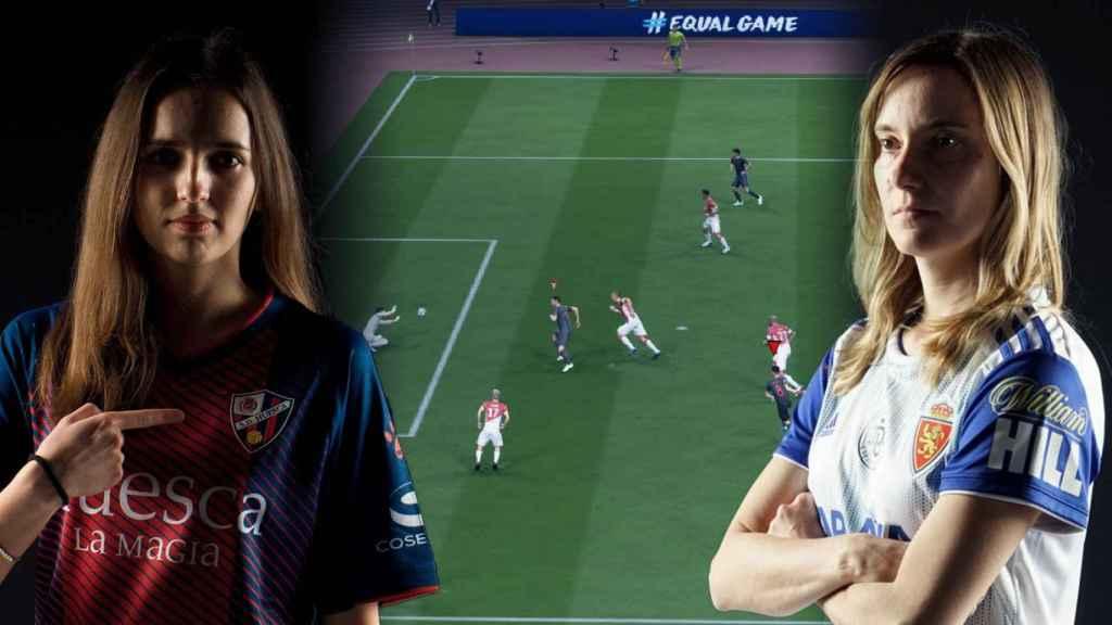 Laura Moreno y Sandra Martínez con las camisetas de sus equipos de eSports