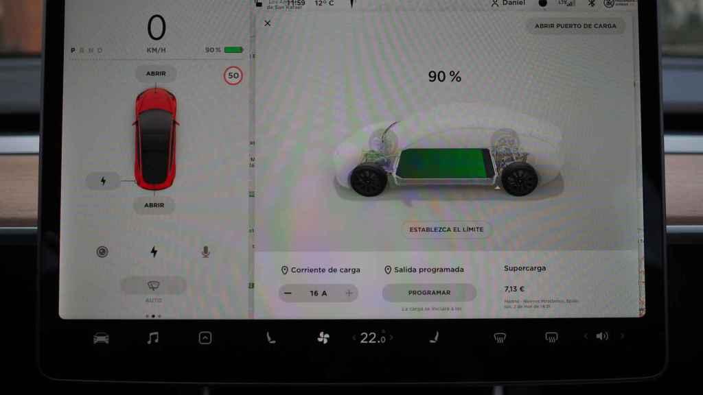 Estado de la batería en un Tesla Model 3