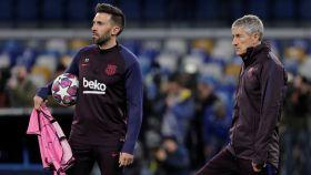 Eder Sarabia, junto a Quique Setién, durante el entrenamiento en la previa de el partido de Champions League frente al Nápoles