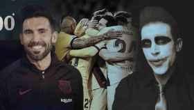 Eder Sarabia con el chándal del Barça y disfrazado de Joker