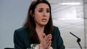 Irene Montero, en la sala de prensa de Moncloa tras el Consejo de Ministros.