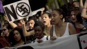 Manifestación en Madrid contra el fascismo, el racismo y el machismo.