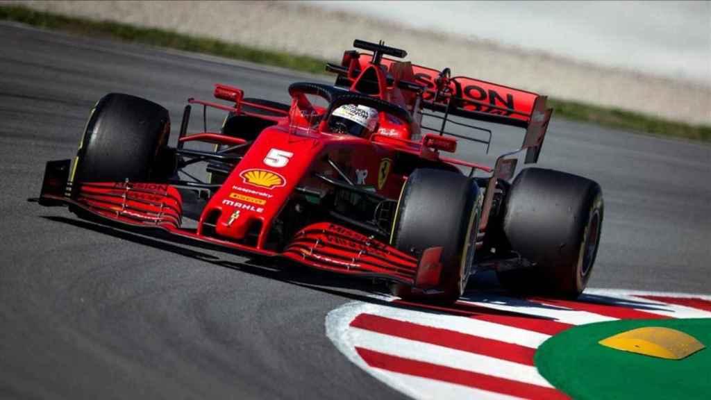 Sebastian Vettel, durante los test en el Circuit de Catalunya